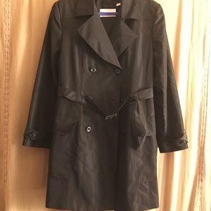 Sz L Dana Buchman double breasted trench coat
